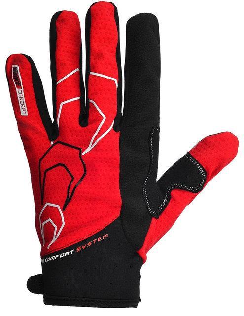 Велоперчатки с длинными пальцами PowerPlay 6556 красные