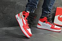 Зимние мужские кроссовки Nike Air Jordan 1 Retro , красные с белым / Найк аир джордан