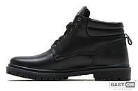 Мужские кожаные зимние ботинки Military Leather black реплика