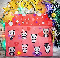 """Подарочный большой бумажный пакет """"Панды на празднике"""""""