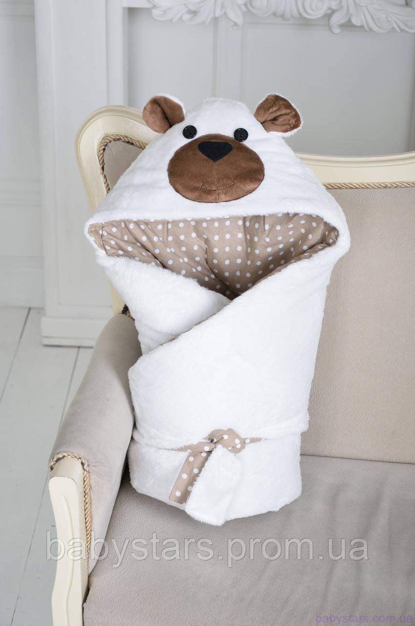 """Демисезонный конверт-одеяло на выписку """"Белый Мишка"""""""
