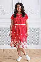 Платье с купоном из прошвы ДЕРСИ  красное, фото 1