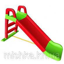 Горка детская пластиковая DOLONI Весёлый спуск красно-салатовая