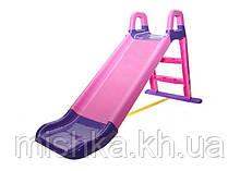 Горка детская пластиковая DOLONI Весёлый спуск фиолетово-розовая