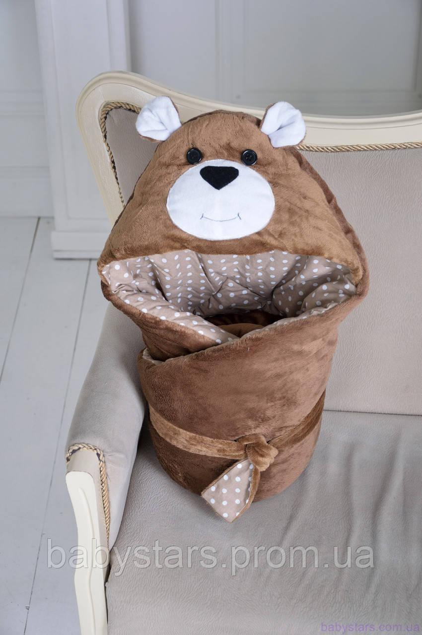 """Демисезонный конверт-одеяло на выписку """"Бурый Мишка"""""""