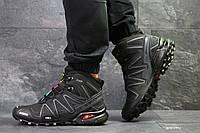 Зимние мужские кроссовки  Salomon Speedcross черные с серым