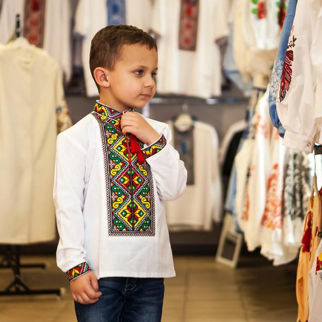 Детская вышиванка для мальчика с ярким орнаментом