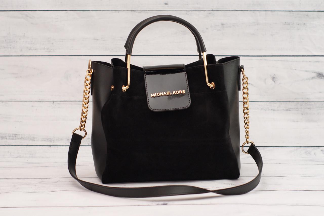 Женская замшевая mini сумка Michael Kors (Майкл Корс), черный цвет