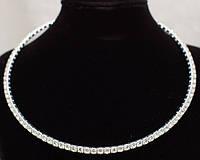 Свадебное ожерелье с горного хрусталя посеребренной оправе
