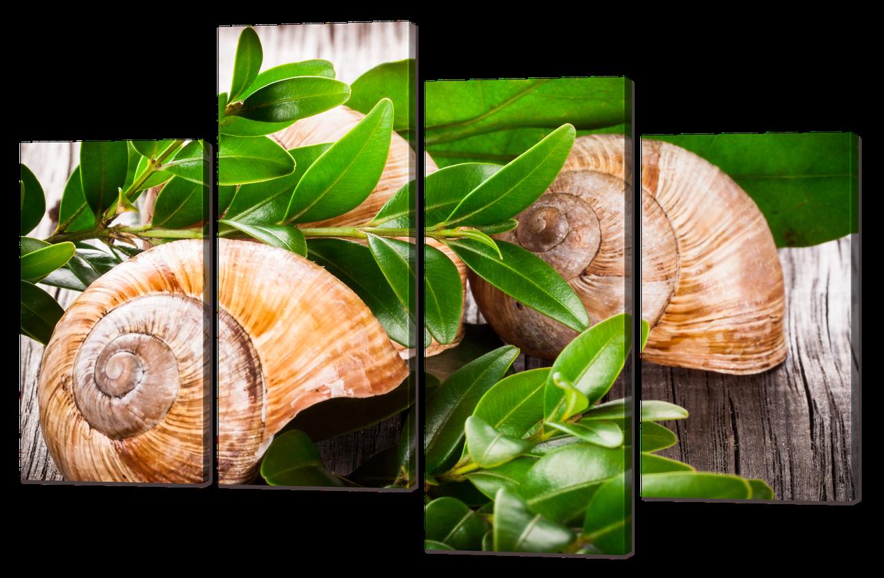 Модульная картина Interno Эко кожа  Улитки в ветвях 166x110см (A692XXL)