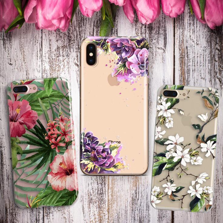 Дизайнерский силиконовый чехол цветочный для iPhone X / XS / XR / XS MAX