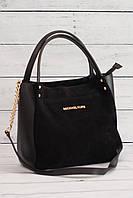 Женская замшевая сумка Mісhаеl Коrs (в стиле Майкл Корс), цвет черный