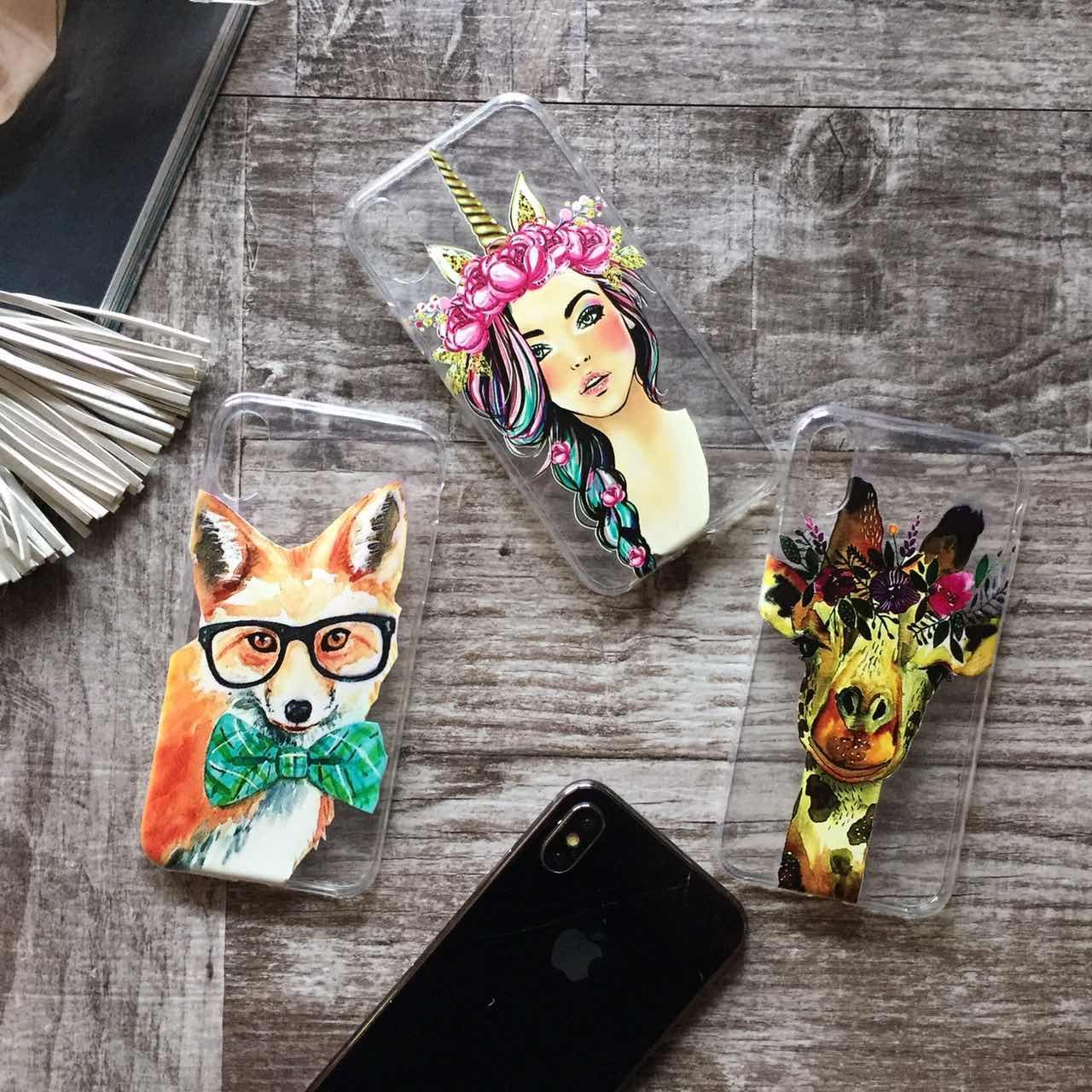 Дизайнерский силиконовый чехол с животными, жираф, лиса, единорог для iPhone X / XS / XR / XS MAX