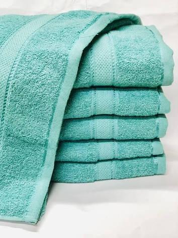 Полотенца однотонные (для гостинец) банные бирюзового цвета (Венгрия), фото 2
