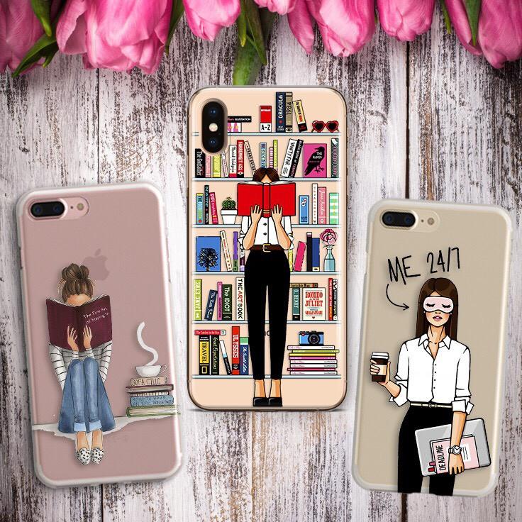 Дизайнерский силиконовый чехол девушки с книгами для iPhone X / XS / XR / XS MAX