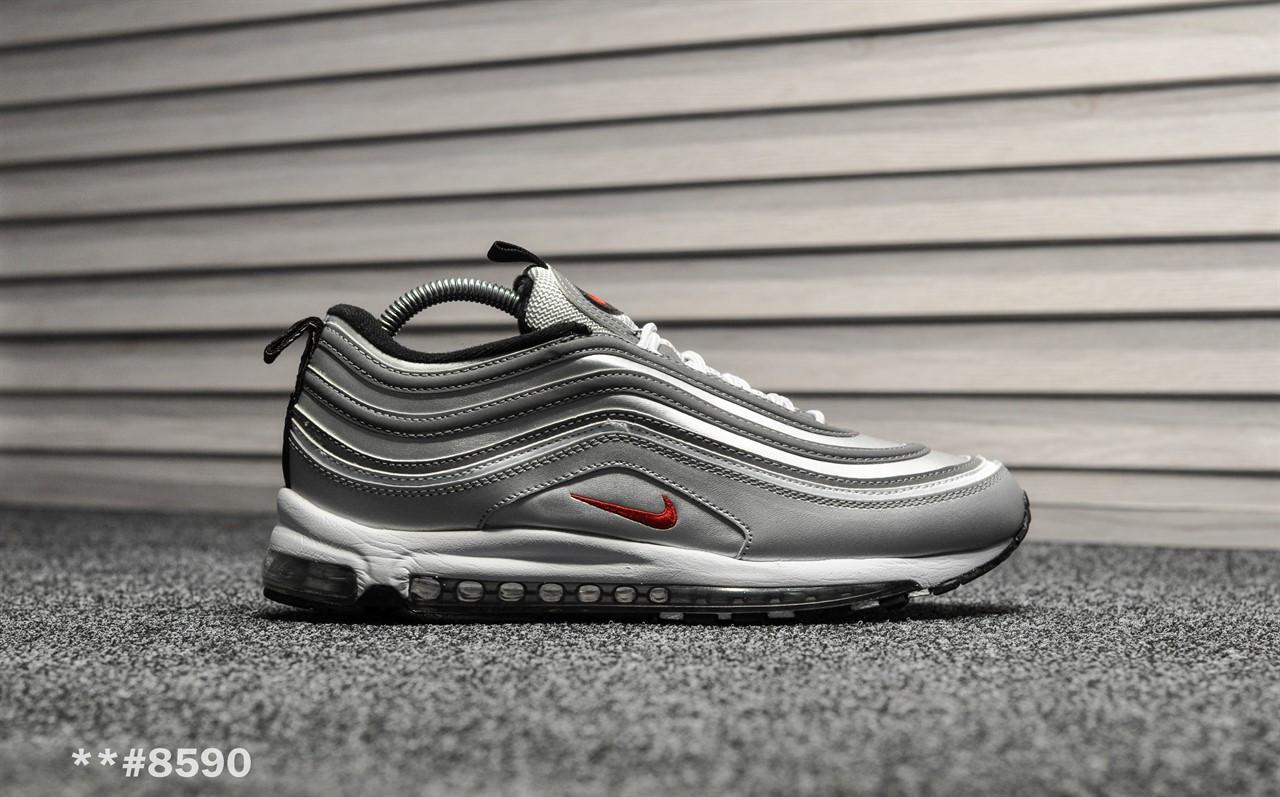 2087110e Мужские зимние кроссовки на меху в стиле Nike Air Max 97 Silver Bullet,  серые.