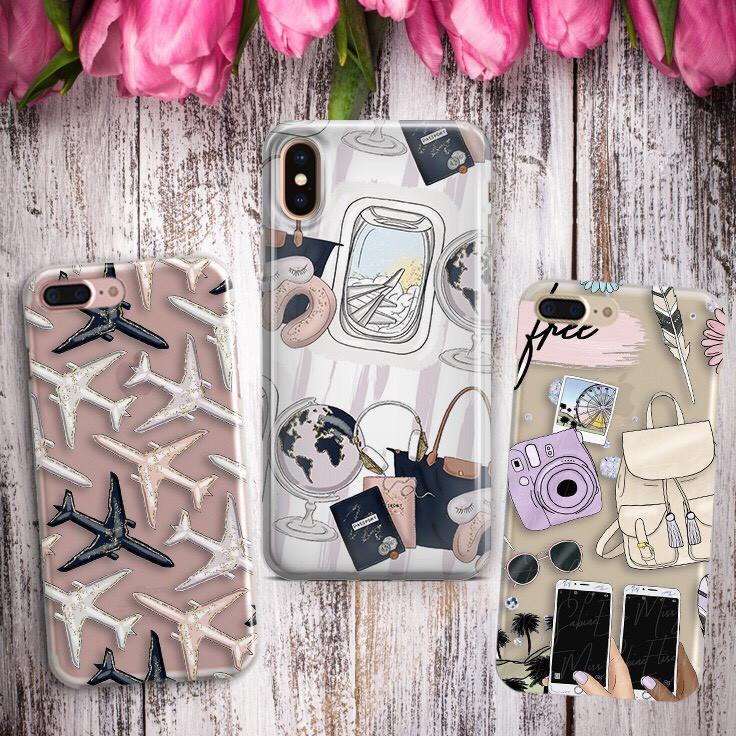Дизайнерский силиконовый чехол путешествие, предметы, самолетики для iPhone X / XS / XR / XS MAX