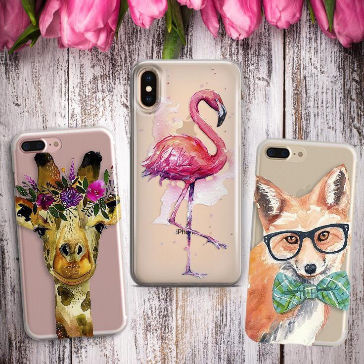 Дизайнерский силиконовый чехол с фламинго, лисой, жирафом , животный мир для iPhone X / XS / XR / XS MAX