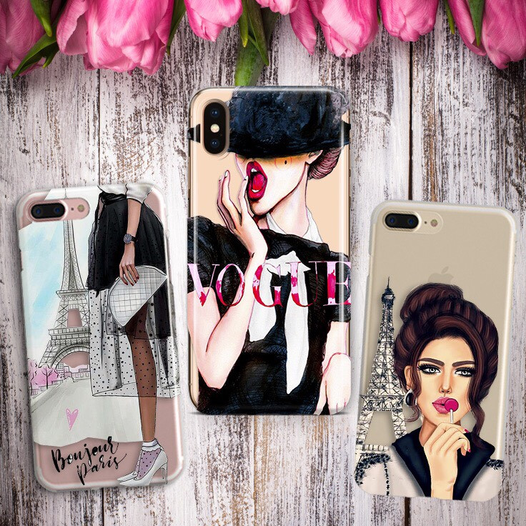 Дизайнерский силиконовый чехол с девчячими принтами, Париж, Vogue для iPhone X / XS / XR / XS MAX