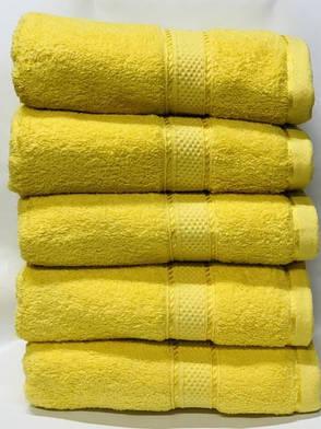 Полотенца однотонные (для гостинец) банные желтого цвета (Венгрия), фото 2