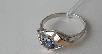 Серебряное женское кольцо с фианит цвета мистика и золотой пластиной