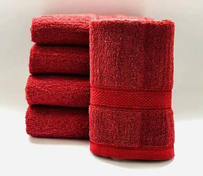 Полотенца однотонные (для гостинец) банные красного цвета (Венгрия), фото 2