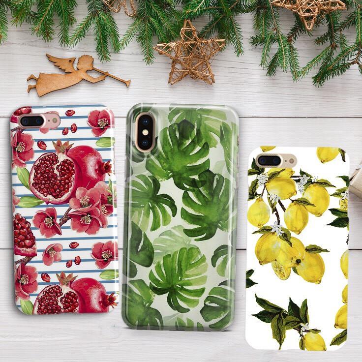 Дизайнерский пластиковый чехол фруктовый, лимонный, гранатовый, пальмовые листья для iPhone X/ XS /Xr /XS Max