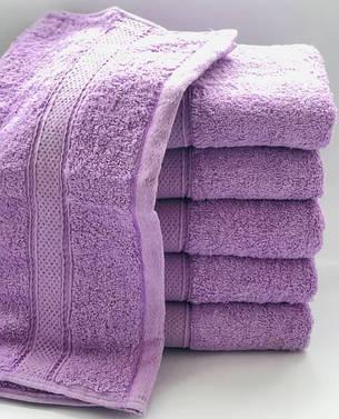 Полотенца однотонные (для гостинец) банные сиреневого цвета (Венгрия), фото 2