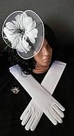 АКЦИЯ к новому году!!! Набор Шляпка  Перьевой цветок + перчатки,  белые