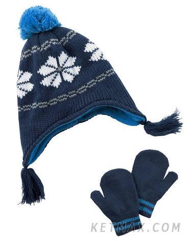 Зимний набор: шапка и варежки Carter's для мальчика, фото 2