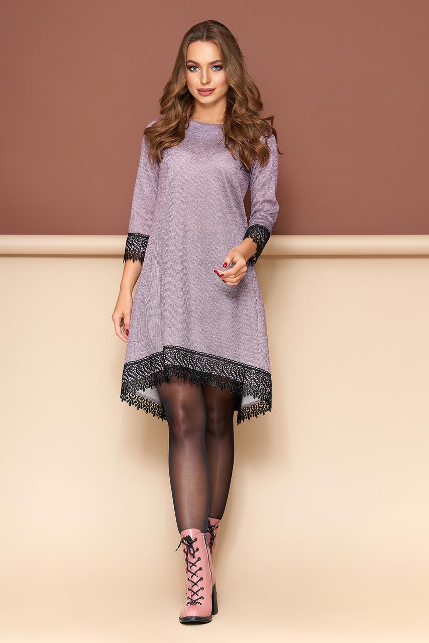 Модное ангоровое платье с кружевом (5 цветов)