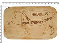 Доска сувенирная с выжиганием схемы разруба свинины 22*37 см ОПТОМ, фото 1
