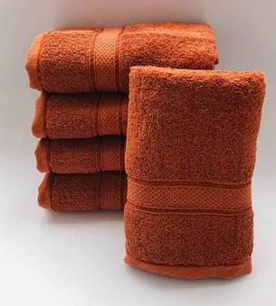 Полотенца однотонные (для гостинец) банные цвета оранж (Венгрия), фото 2