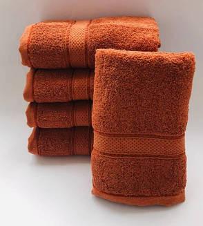 Полотенца однотонные (для гостинец) метровые цвета оранж (Венгрия), фото 2