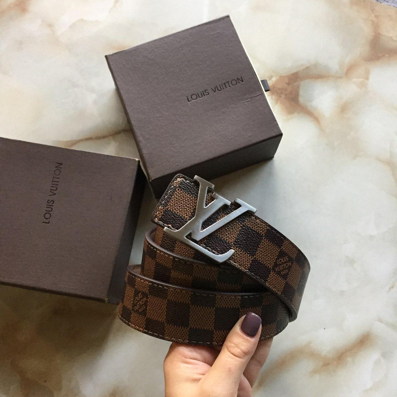 Брендовый Ремень Louis Vuitton кожаный пояс Луи Витон в коробке