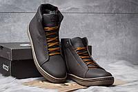 Киев. Мужские зимние ботинки на меху в стиле Ecco SSS Shoes, коричневые.  Код товара KW 3e77a7db307