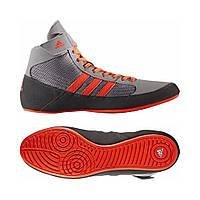 Обувь для вольной борьбы (Борцовки) Adidas Havoc на твердой подошве (CG3802, серо-красные)