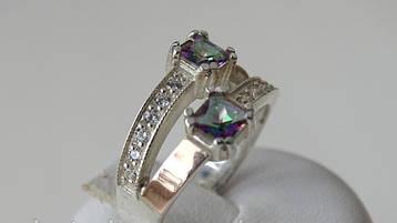 Серебряное кольцо с золотыми пластинами и куб. цирконием