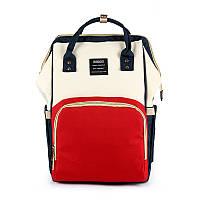 Сумка - рюкзак для мамы Красно бежевый