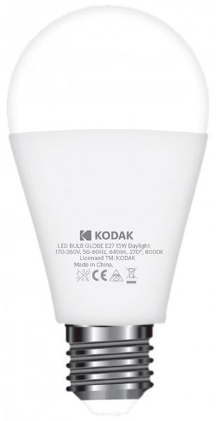 LED лампа Kodak A60 E27 15W 220V Дневн.Бел. 6000K Мат. н/Дим.