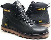 Ботинки зимние мужские кожаные CAT шнурок плюс молния model - B30 black Польша