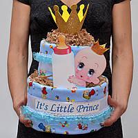 Торт из памперсов. Торт из подгузников. Подарок на крестины. На выписку из роддома. Для мальчика