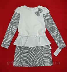 Платье кремовое Квадраты для девочки (Zibi, Польша)