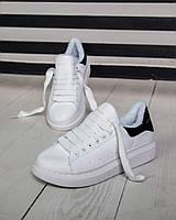 Зимние женские кроссовки Александр Маккуин с мехом белые ( реплика)