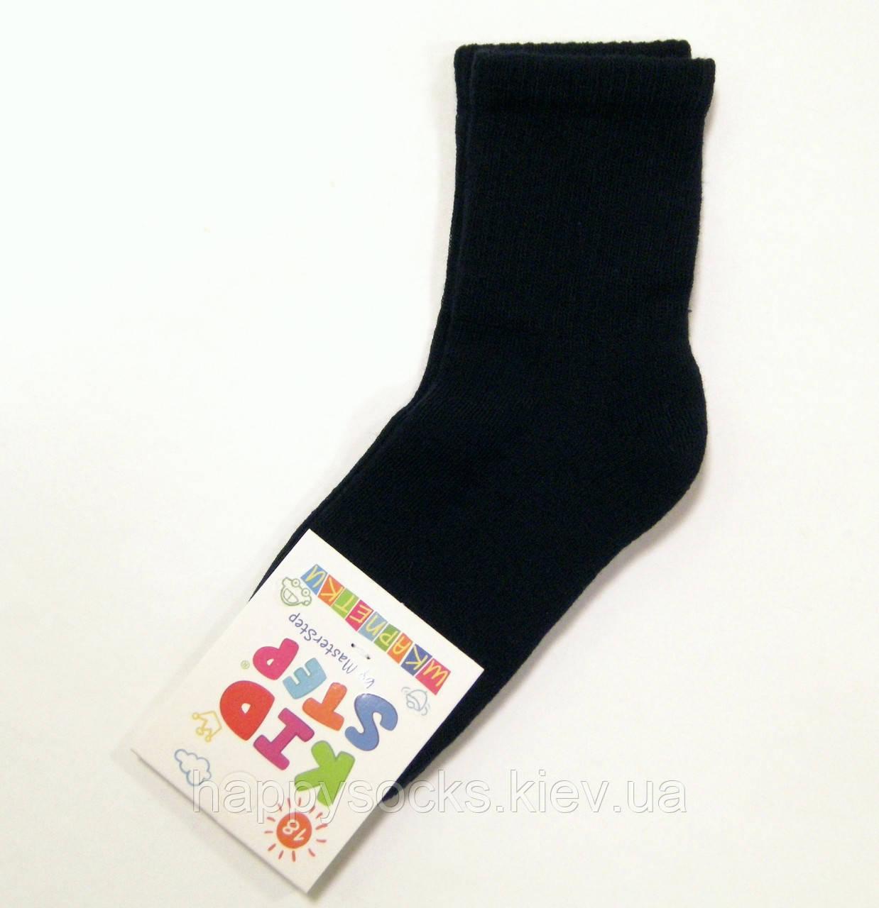 Однотонные детские хлопковые носки с махровым следом черного цвета