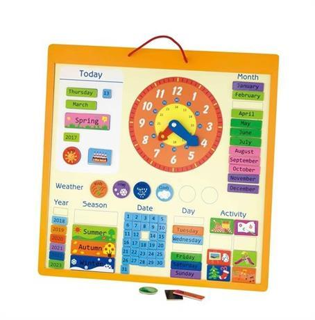 Магнитный  деревянный календарь  на английском Viga Toys (50377)