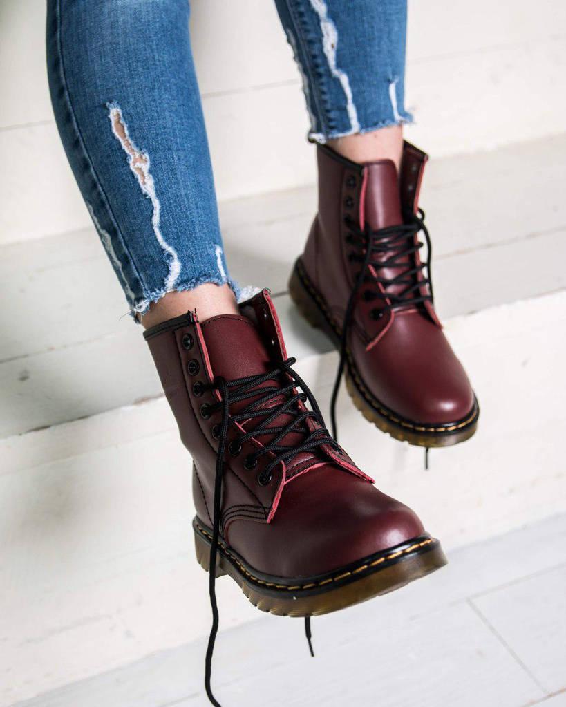 5d6a6fd3dd93 Женские зимние ботинки Dr. Martens ( Мартинсы ) с мехом бордовые ( реплика )