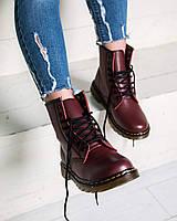 Женские зимние ботинки Dr. Martens ( Мартинсы ) с мехом бордовые ( реплика )