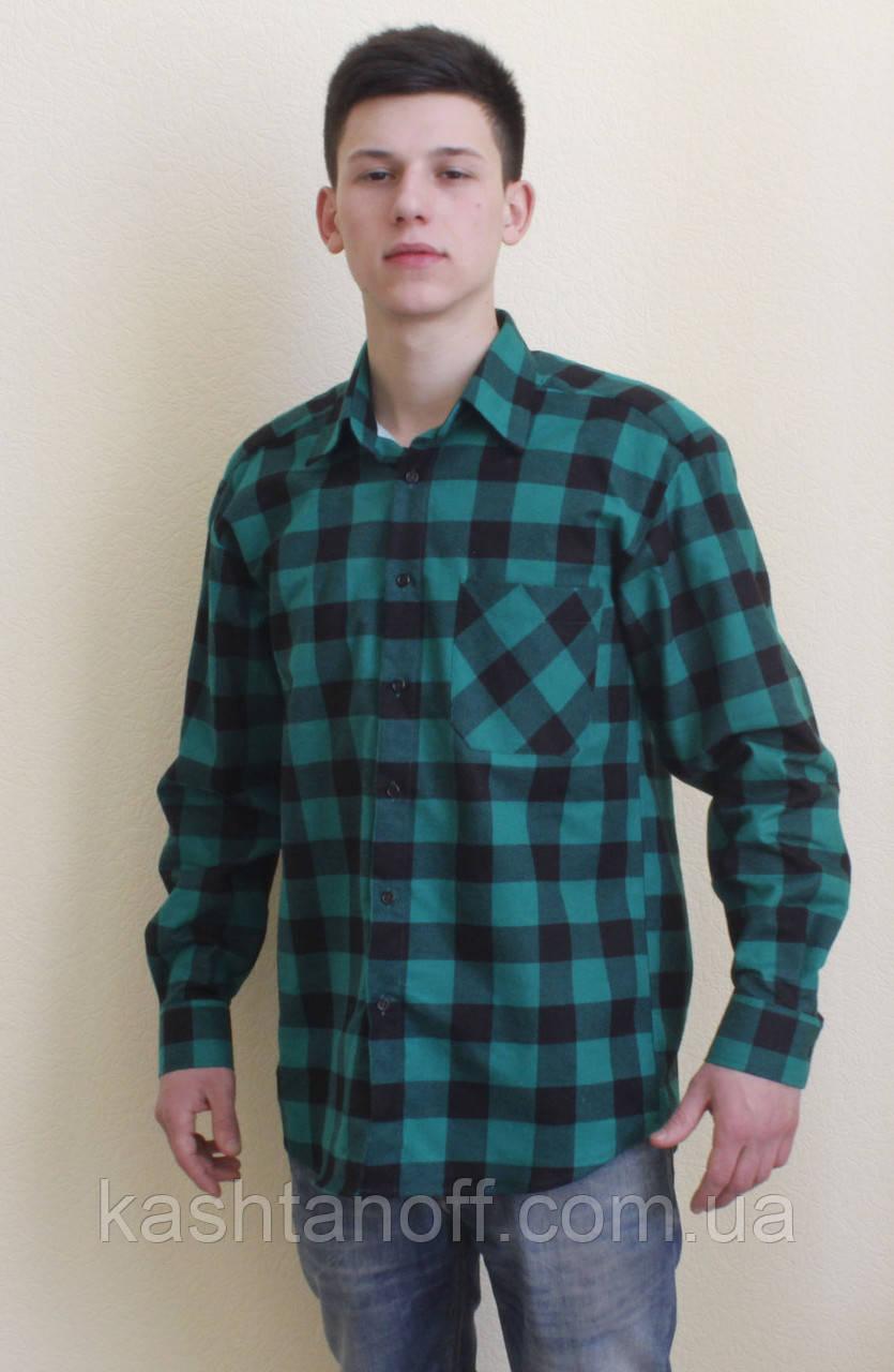 92e54f9d400 Фланелевая рубашка зеленая в клетку