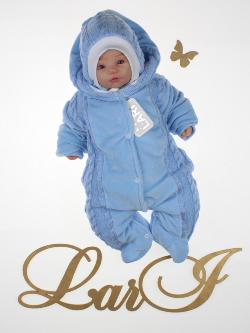 """Комплект для новорожденных """"Косичка"""" (человечек с шапочкой). Синий, фото 1"""